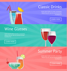 Classic drinks wine glass summer party alcohol vector
