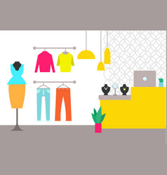 Clothing store interior poster vector