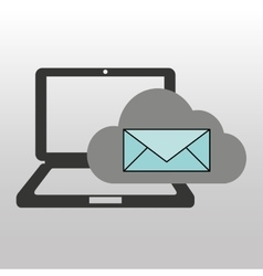 cloud computer connected email message vector image