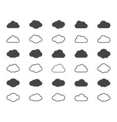 Clouds shapes or black icons set elements vector