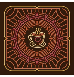 Coffee mug on round emblem vector