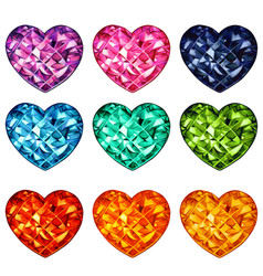 colorful crystal heart shaped gems collection vector image