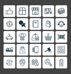 Commerce icons set collection of spiral notebook vector