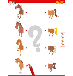 Connect halves horses educational game vector