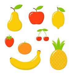 cute bright colors of fruits collections set of vector image