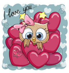 Cute cartoon owl in hearts vector