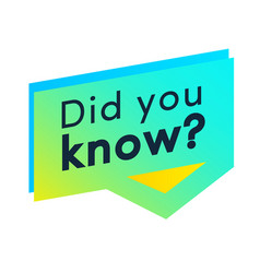 Did you know label for interesting funny facts vector