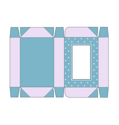 Die cut box with lid in blue vintage colors with vector