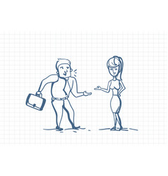 Doodle business man and businesswoman talking hand vector
