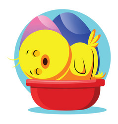 easter yellow chick sleeping web on white vector image