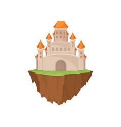 fairytale stone island castle on white background vector image