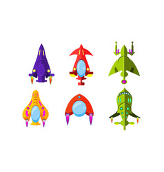 fantasy aircrafts set colorful airplanes vector image