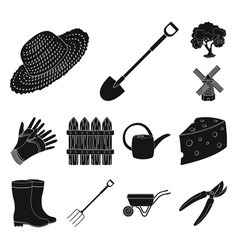 farm and gardening black icons in set collection vector image