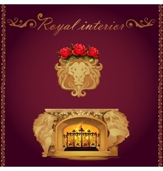 Fireplace decorated lions figures vector image