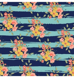 Floral pattern with blue stripes vector