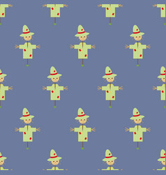 garden scarecrow seamless pattern vector image