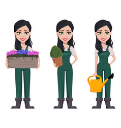 Gardener woman cartoon character in uniform vector