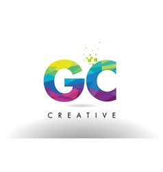gc g c colorful letter origami triangles design vector image