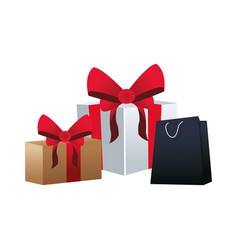 gift boxes and shopping bag vector image