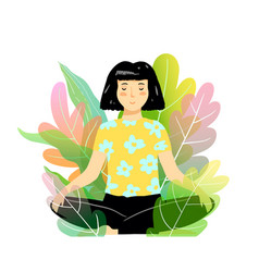 Girl meditating and relaxation in nature yoga vector