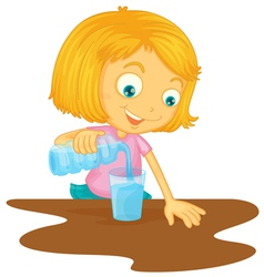 Girl pouring water in glass vector