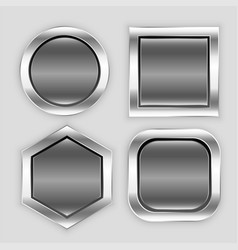 glossy button icons in different shapes vector image