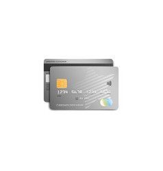 grey plastic bank card with modern silver star vector image