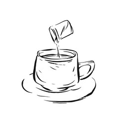 hand drawn line ink sketch of ecspresso vector image