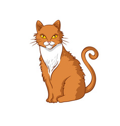 hand-drawn red cat isolated on white background vector image