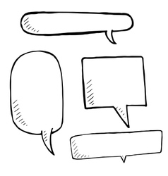 Hand drawn speech bubble skech set on white vector