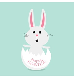 Happy Easter Cuteunny rabbit and egg shell Flat vector