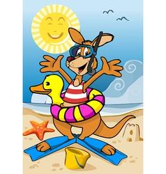 happy kangaroo cartoon on beach vector image