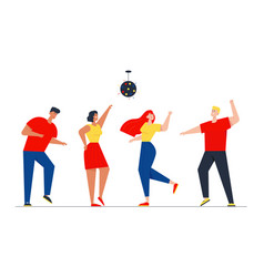 Happy people clubbing and dancing disco at night vector
