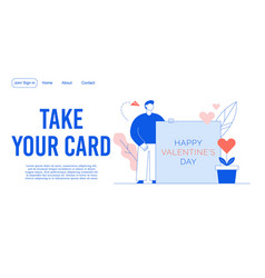 happy valentine day invitation landing page design vector image