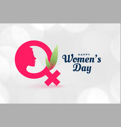 Happy womens day poster with face and female vector