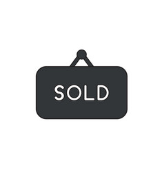 Icon concept sold word written on hanging sign vector