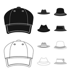 Isolated object headgear and cap symbol set of vector