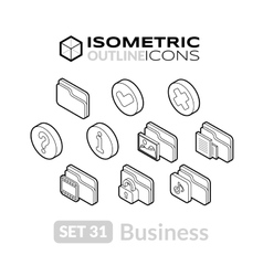 Isometric outline icons set 31 vector