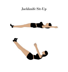 Jackknife sit up exercise workout vector
