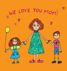 kids drawing the mothers day vector image