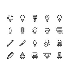light bulb line icons business idea energy vector image