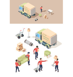 loading furniture transporting vehicle move out vector image