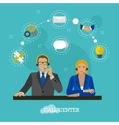 Male and female operators in call center concept vector
