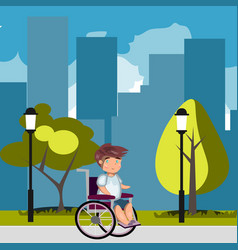 man in wheelchair in park vector image