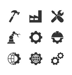 manufacturing black icons vector image