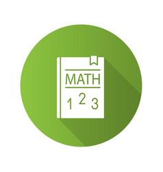 Math textbook flat design long shadow glyph icon vector