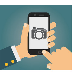 mobile phone with touchscreen - man taking vector image