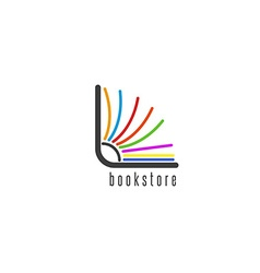 Mockup book logo flipping colored pages vector