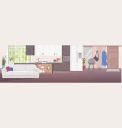 Modern living room interior empty no people vector