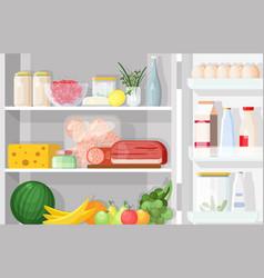 Modern refrigerator with opened door full of vector
